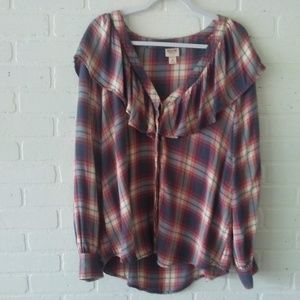 Ruffled Plaid Button Down by Mossimo XXL